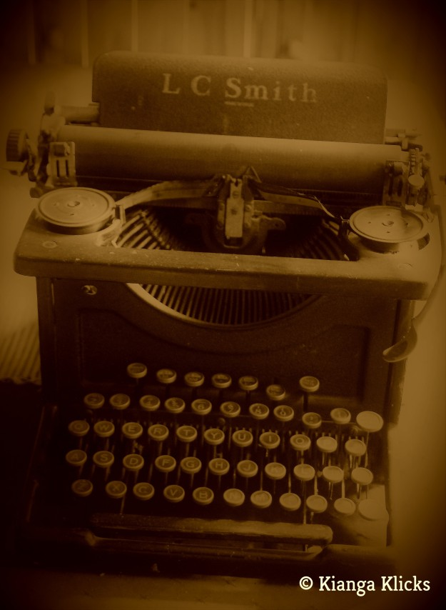 Sepia typewriter watermark